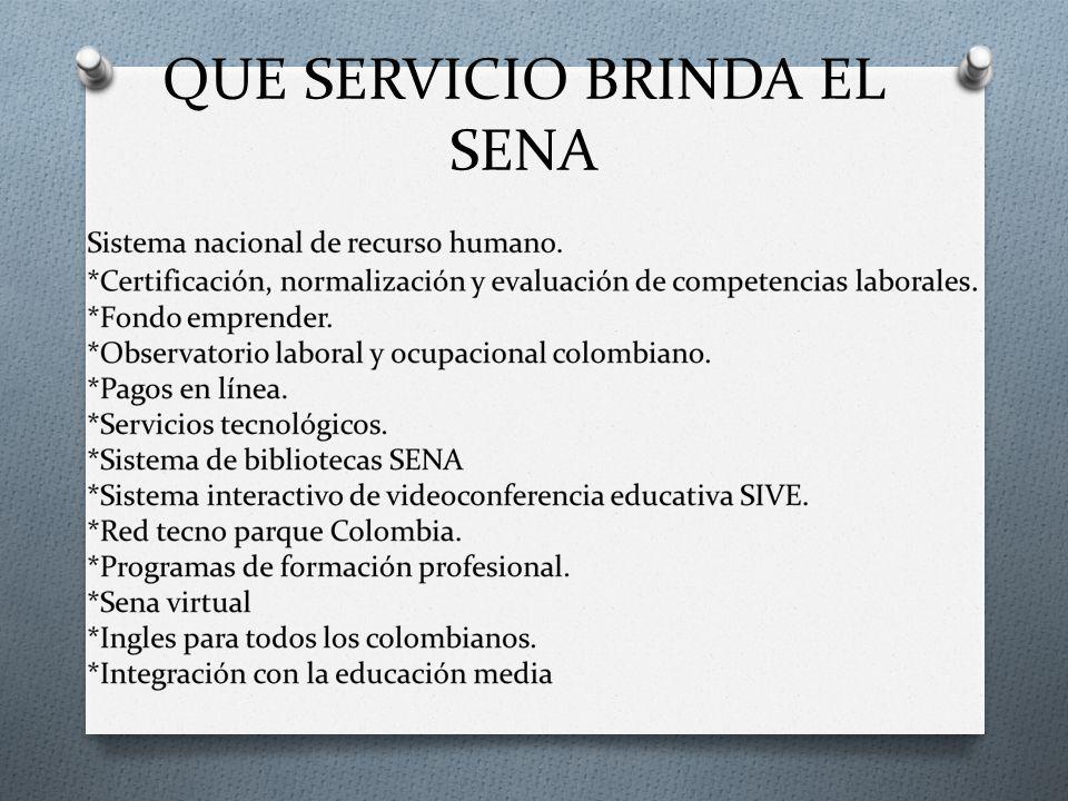 QUE SERVICIO BRINDA EL SENA
