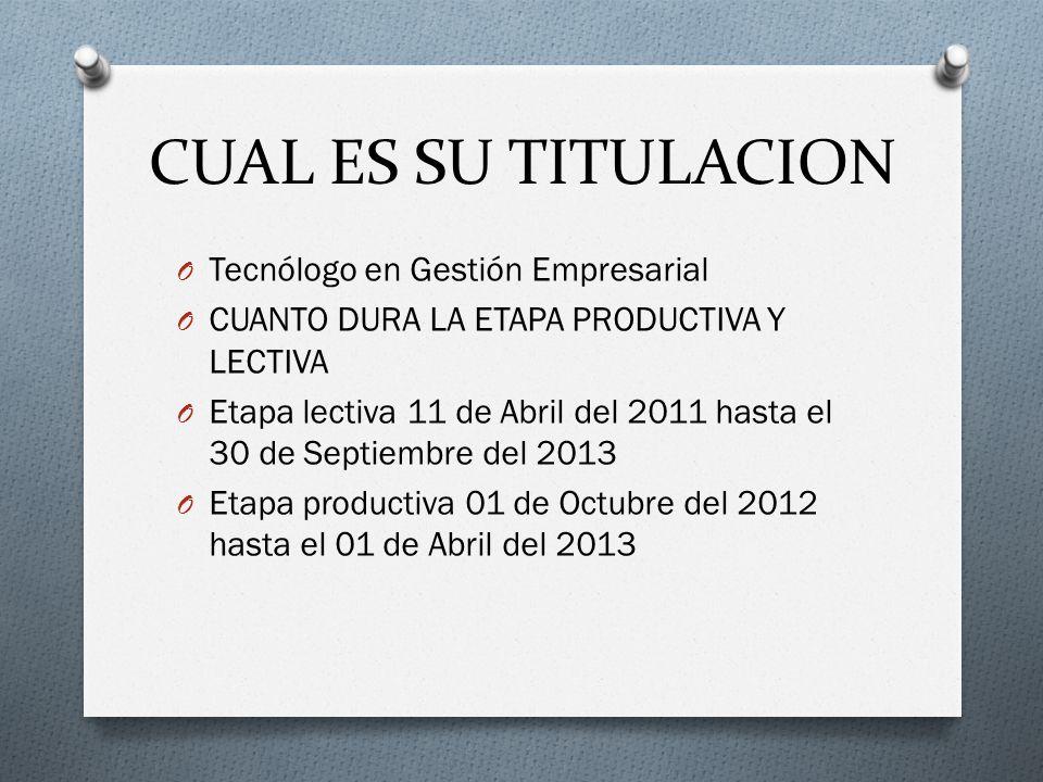 CUAL ES SU TITULACION Tecnólogo en Gestión Empresarial