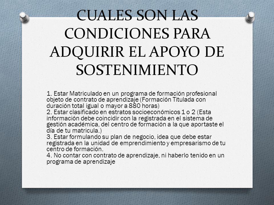 CUALES SON LAS CONDICIONES PARA ADQUIRIR EL APOYO DE SOSTENIMIENTO