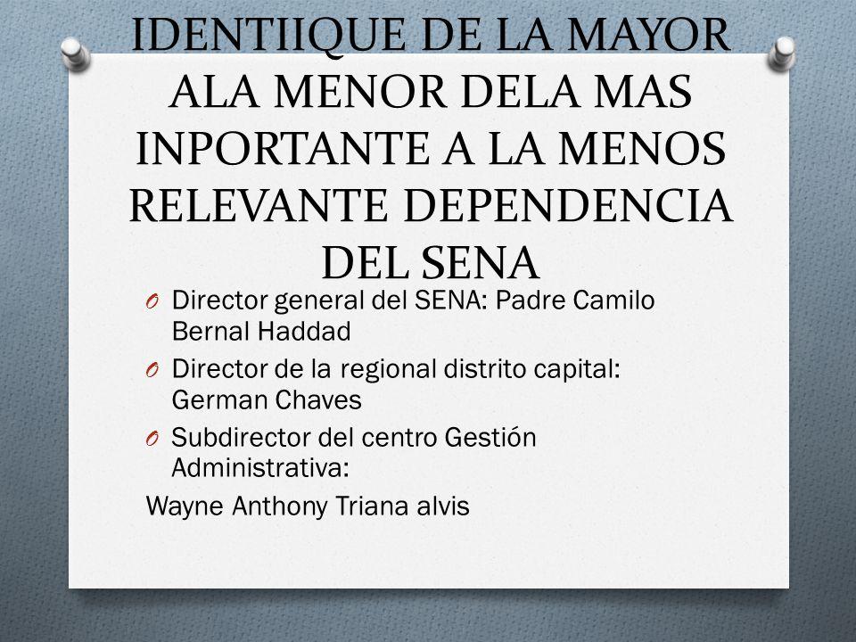 IDENTIIQUE DE LA MAYOR ALA MENOR DELA MAS INPORTANTE A LA MENOS RELEVANTE DEPENDENCIA DEL SENA