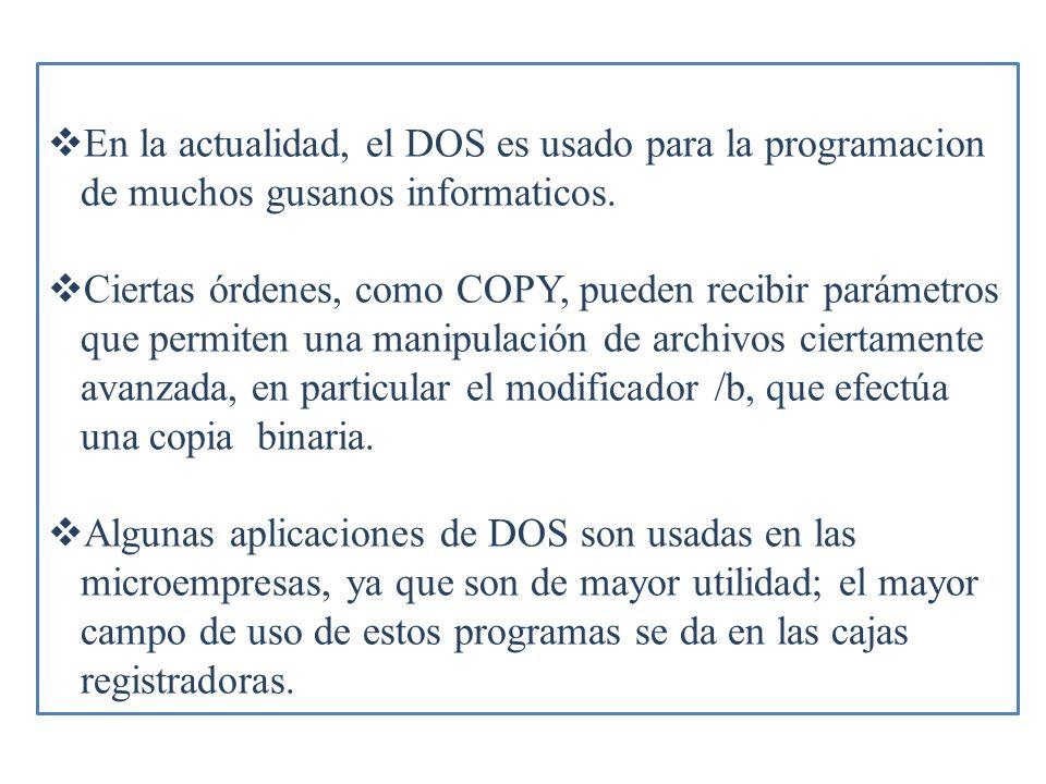 En la actualidad, el DOS es usado para la programacion de muchos gusanos informaticos.
