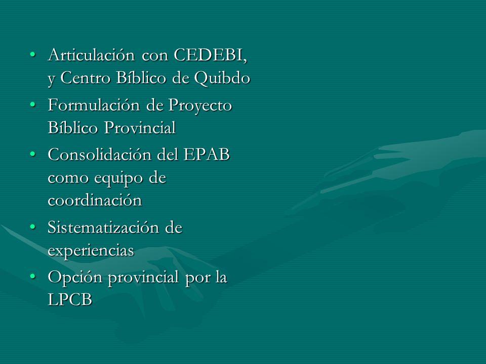 Articulación con CEDEBI, y Centro Bíblico de Quibdo