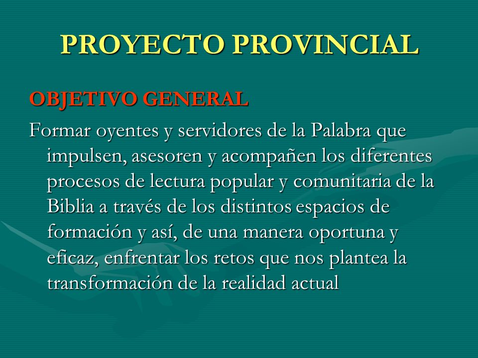 PROYECTO PROVINCIAL OBJETIVO GENERAL