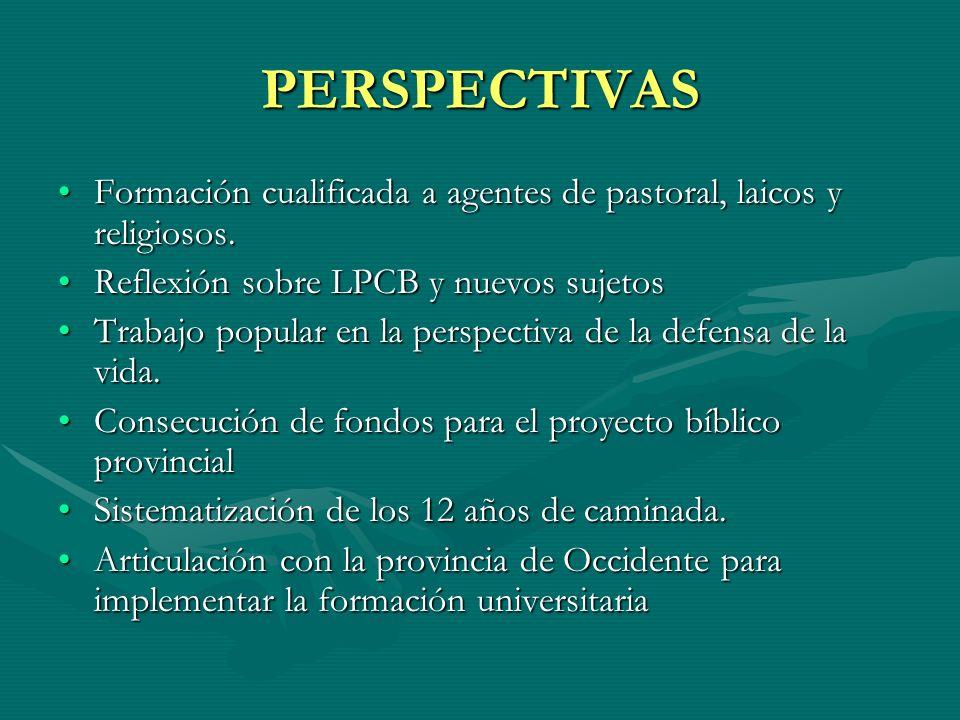 PERSPECTIVAS Formación cualificada a agentes de pastoral, laicos y religiosos. Reflexión sobre LPCB y nuevos sujetos.