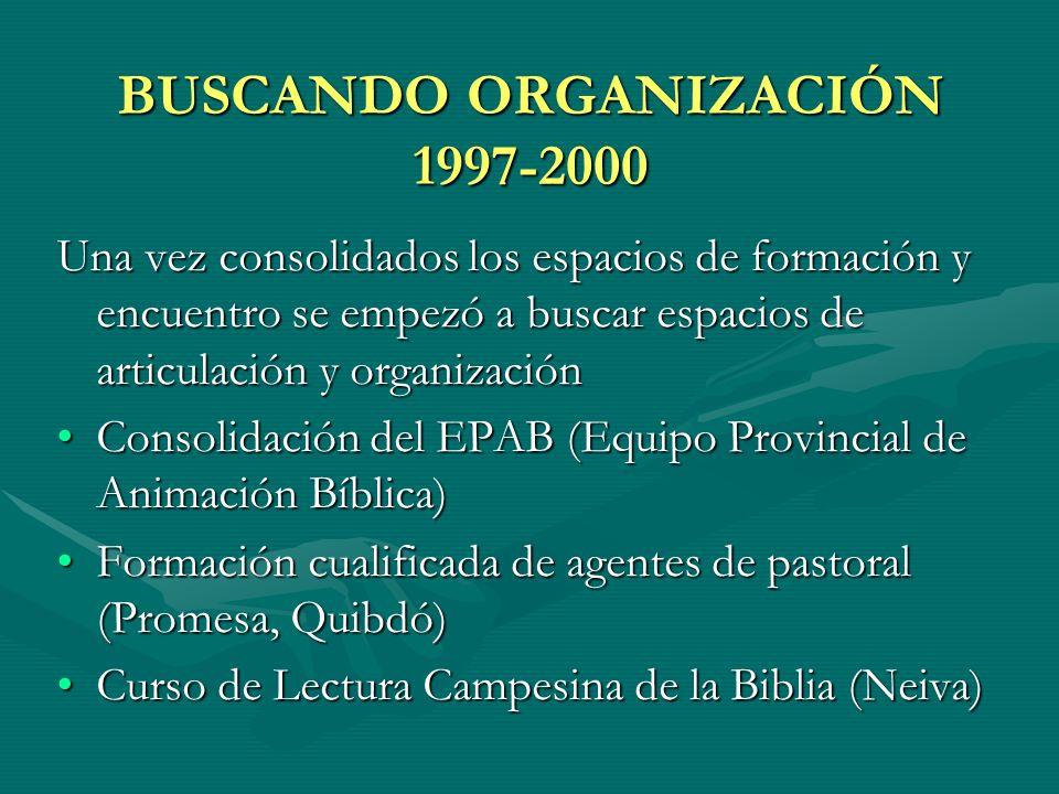BUSCANDO ORGANIZACIÓN 1997-2000