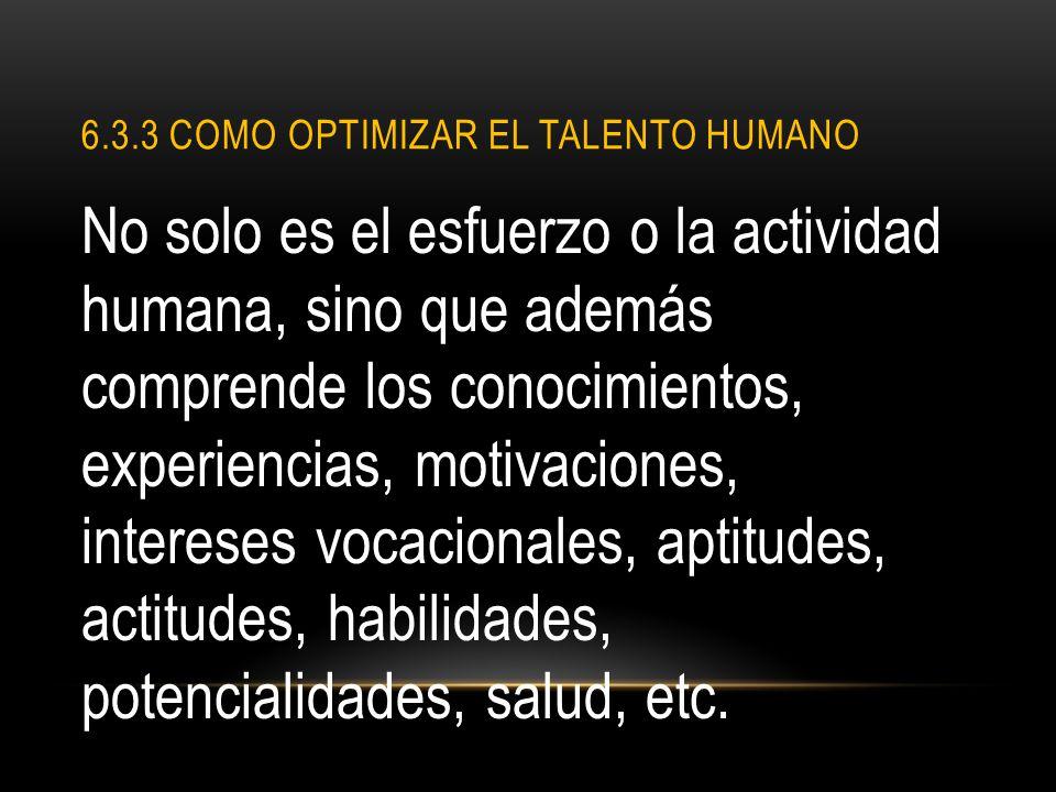 6.3.3 Como optimizar el talento humano