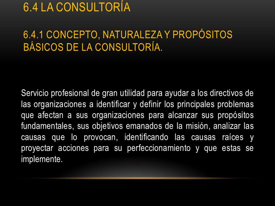 6.4 La consultoría 6.4.1 Concepto, naturaleza y propósitos básicos de la consultoría.