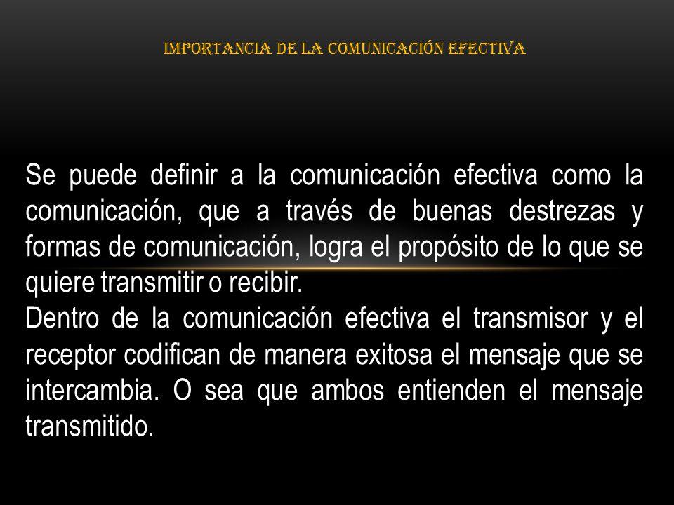 IMPORTANCIA DE LA COMUNICACIÓN EFECTIVA