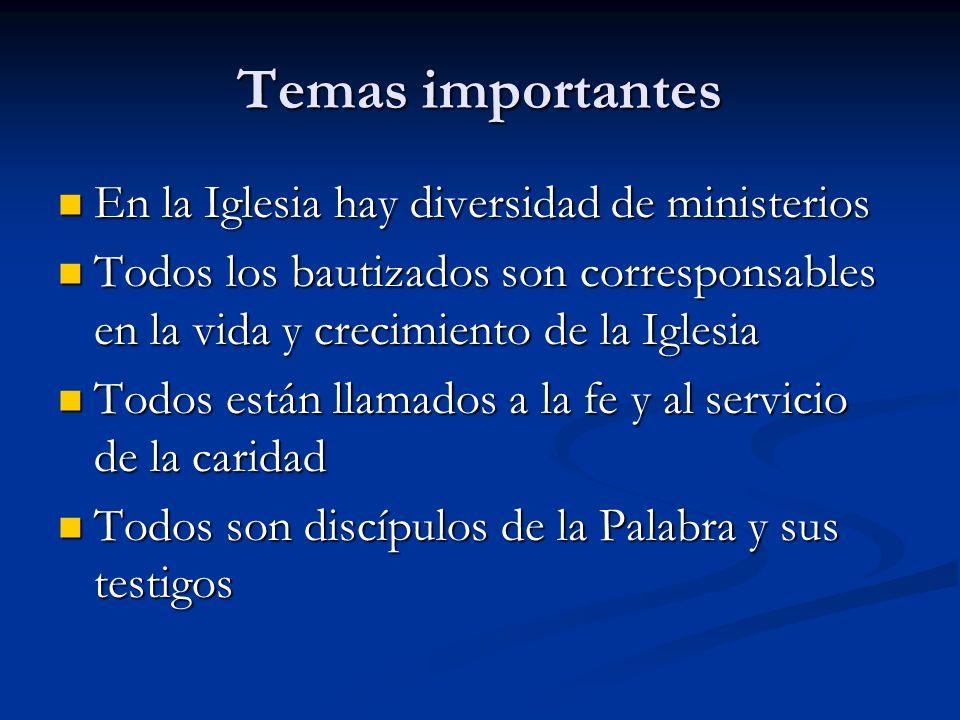 Temas importantes En la Iglesia hay diversidad de ministerios