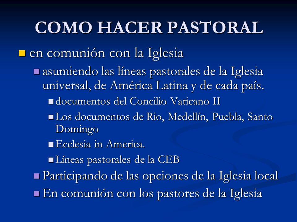 COMO HACER PASTORAL en comunión con la Iglesia