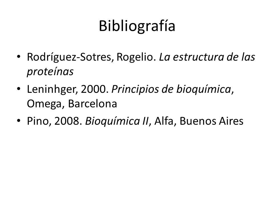 Bibliografía Rodríguez-Sotres, Rogelio. La estructura de las proteínas
