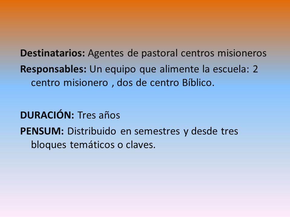 Destinatarios: Agentes de pastoral centros misioneros