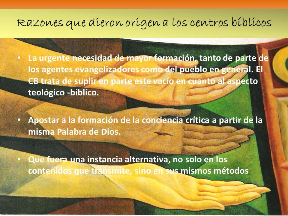 Razones que dieron origen a los centros bíblicos