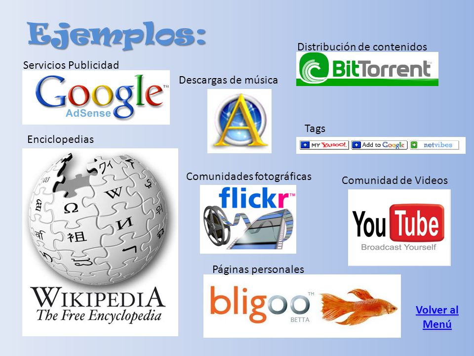 Ejemplos: Distribución de contenidos Servicios Publicidad