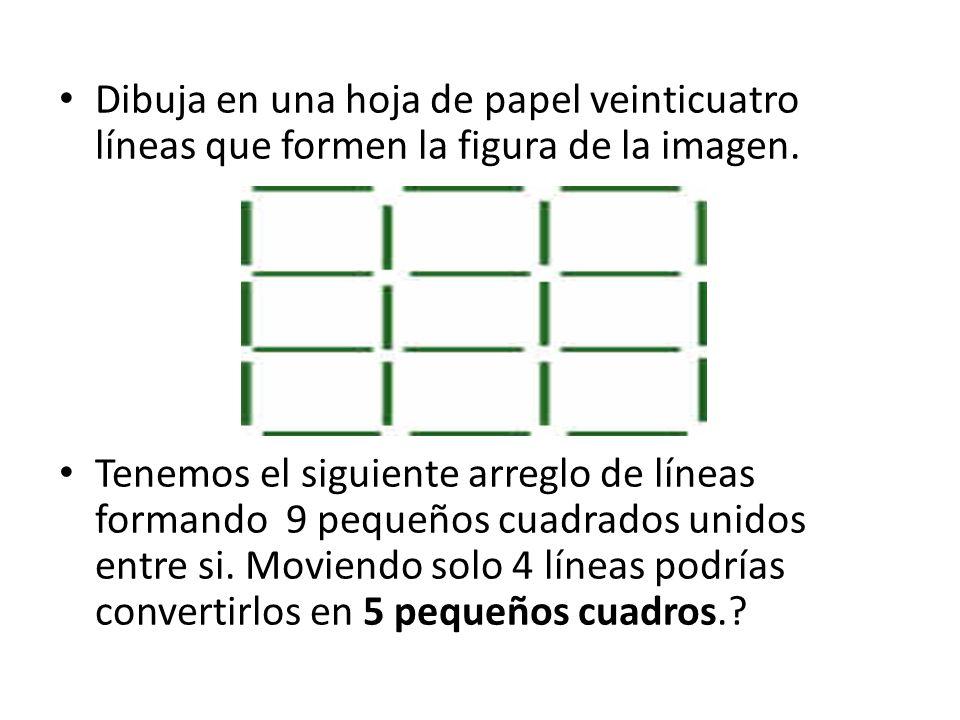 Dibuja en una hoja de papel veinticuatro líneas que formen la figura de la imagen.