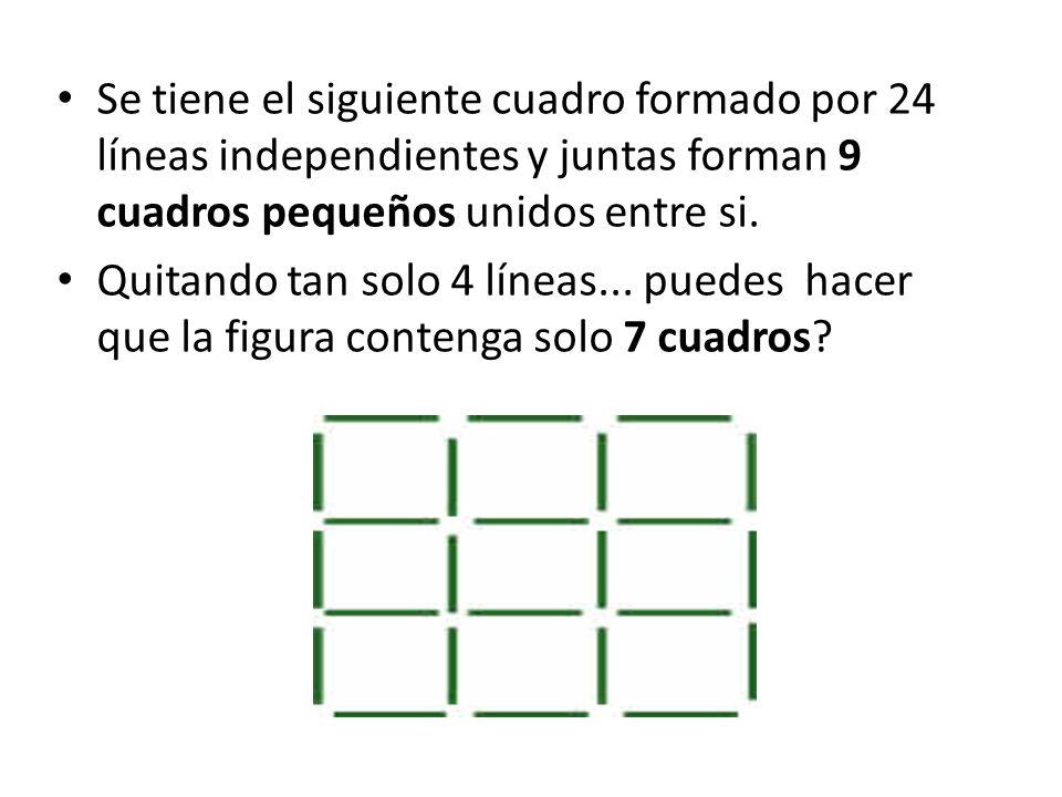 Se tiene el siguiente cuadro formado por 24 líneas independientes y juntas forman 9 cuadros pequeños unidos entre si.