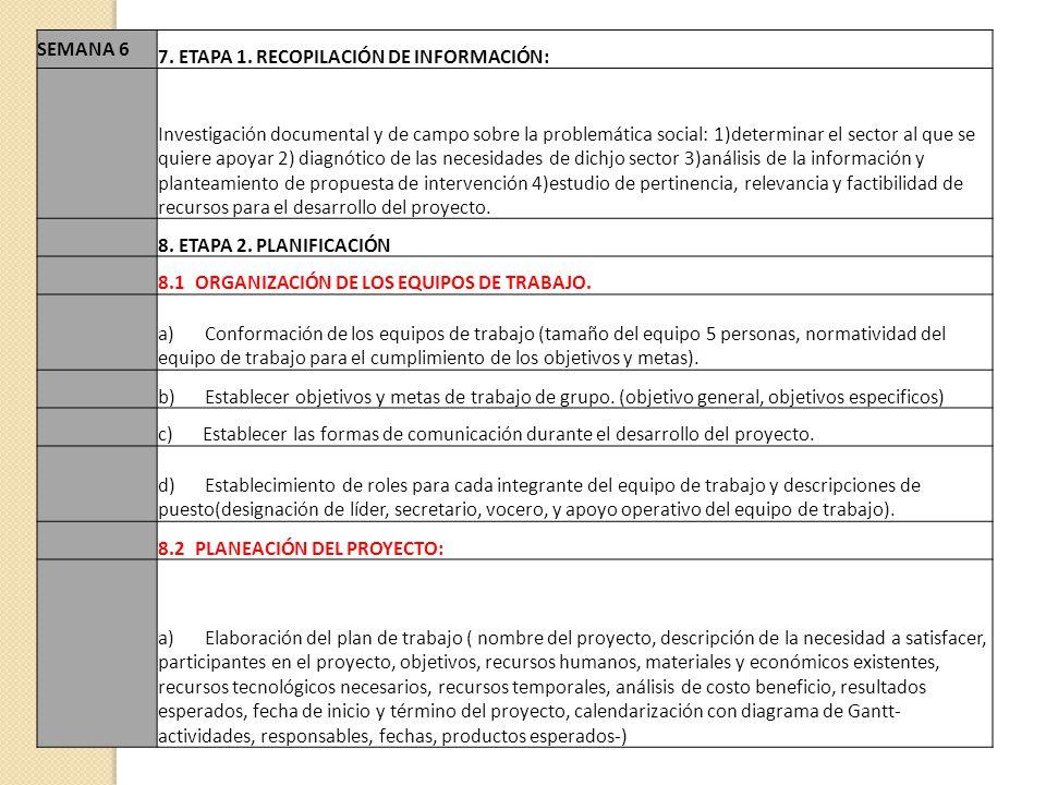 SEMANA 6 7. ETAPA 1. RECOPILACIÓN DE INFORMACIÓN: