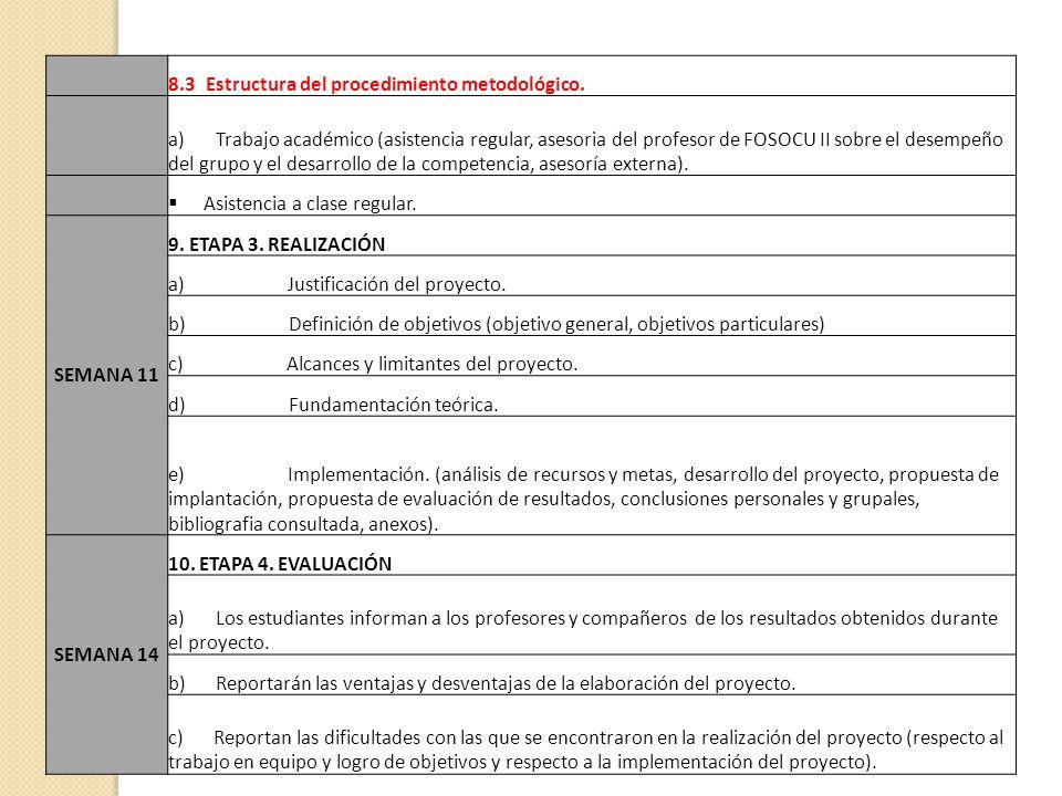 8.3 Estructura del procedimiento metodológico.