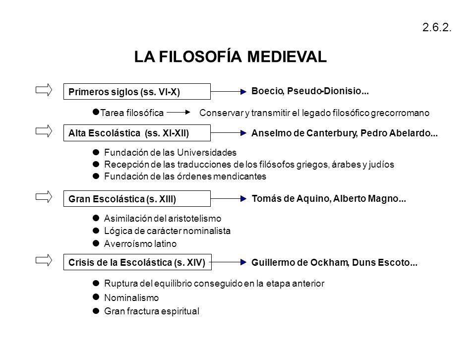 LA FILOSOFÍA MEDIEVAL 2.6.2. Primeros siglos ( ss . VI - X) Boecio ,