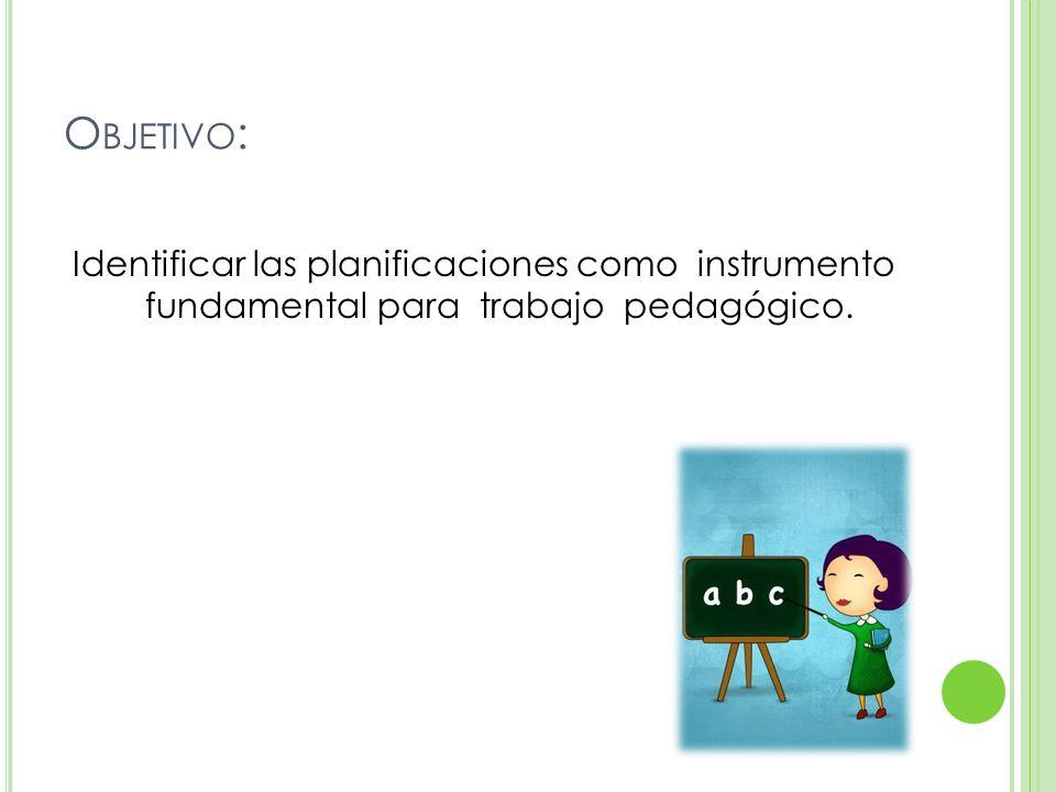Objetivo: Identificar las planificaciones como instrumento fundamental para trabajo pedagógico.