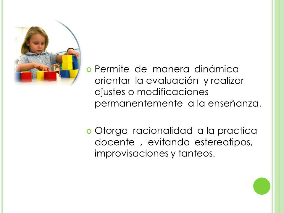 Permite de manera dinámica orientar la evaluación y realizar ajustes o modificaciones permanentemente a la enseñanza.