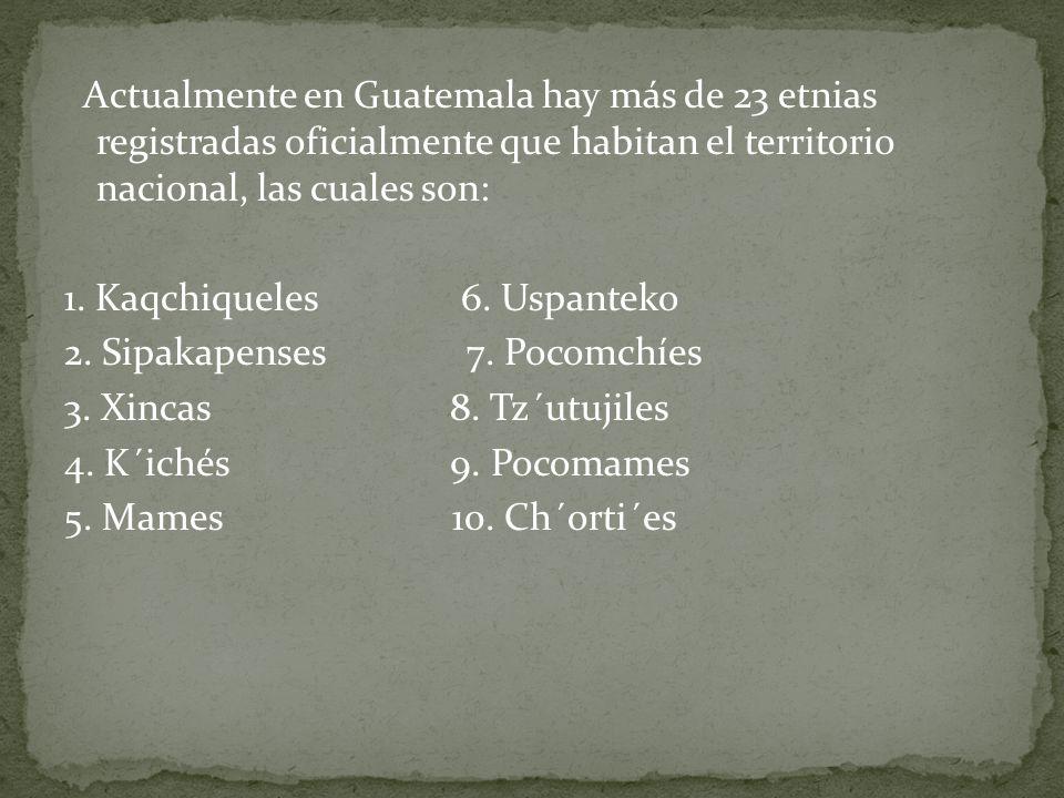Actualmente en Guatemala hay más de 23 etnias registradas oficialmente que habitan el territorio nacional, las cuales son: 1.