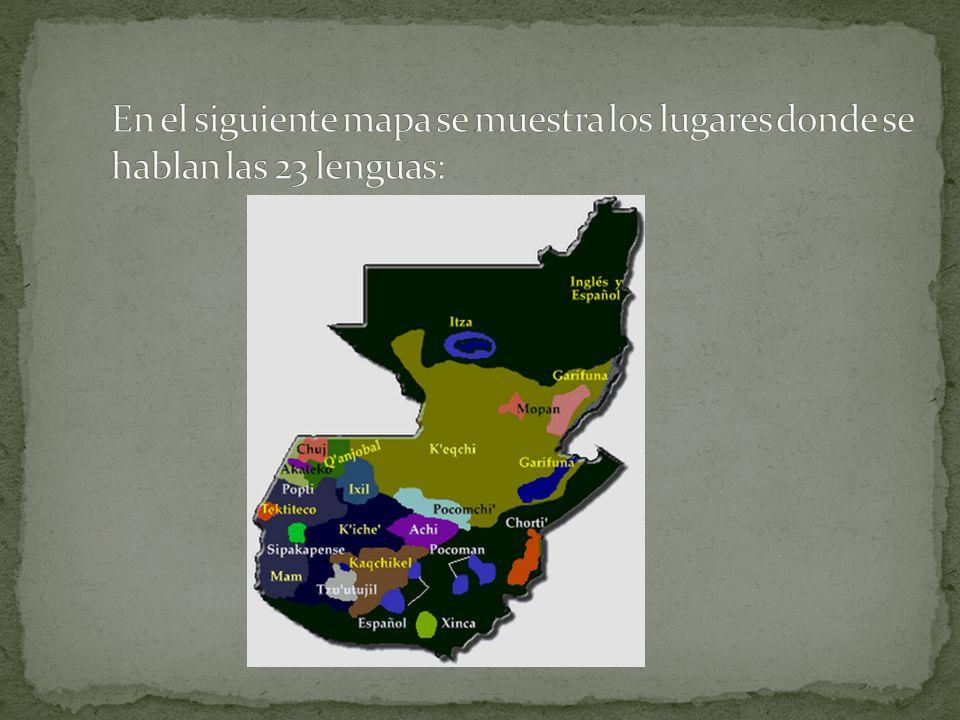 En el siguiente mapa se muestra los lugares donde se hablan las 23 lenguas: