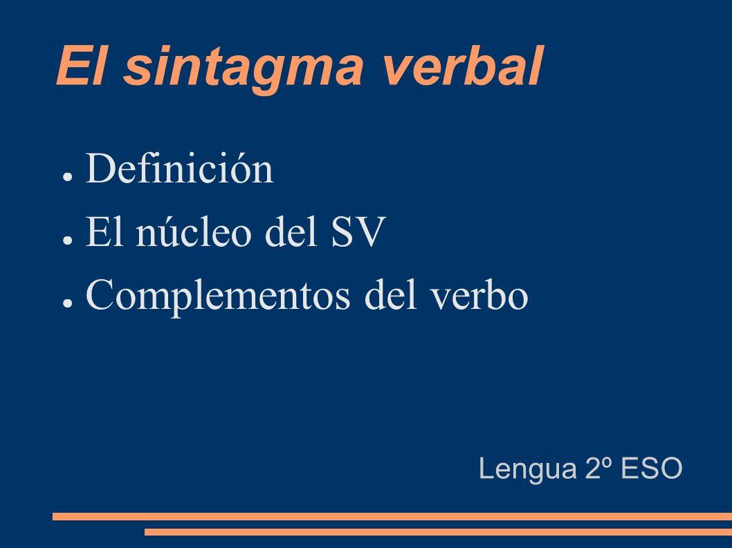 El sintagma verbal Definición El núcleo del SV Complementos del verbo