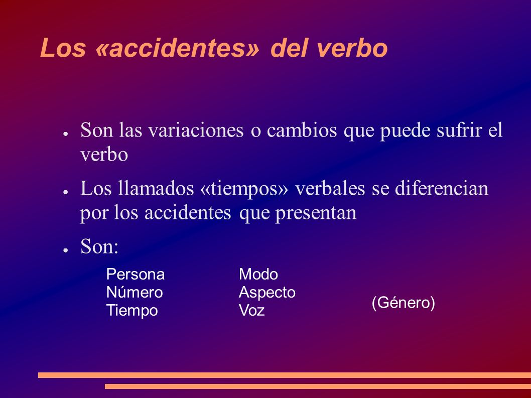 Los «accidentes» del verbo