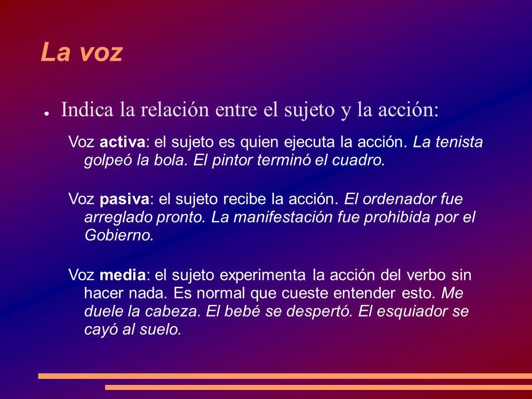 La voz Indica la relación entre el sujeto y la acción: