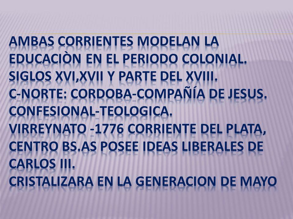 AMBAS CORRIENTES MODELAN LA EDUCACIÒN EN EL PERIODO COLONIAL