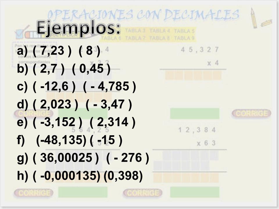 Ejemplos: ( 7,23 ) ( 8 ) ( 2,7 ) ( 0,45 ) ( -12,6 ) ( - 4,785 )