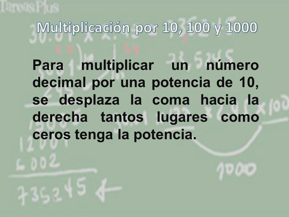 Multiplicación por 10, 100 y 1000