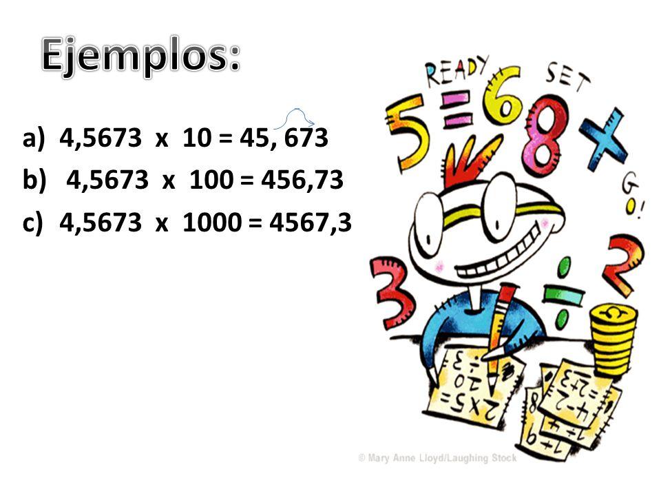 Ejemplos: 4,5673 x 10 = 45, 673 4,5673 x 100 = 456,73 4,5673 x 1000 = 4567,3