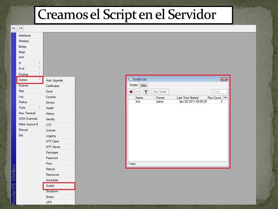 Creamos el Script en el Servidor
