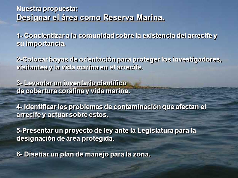 Designar el área como Reserva Marina.