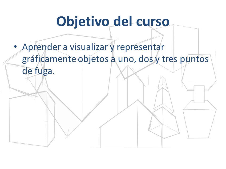 Objetivo del curso Aprender a visualizar y representar gráficamente objetos a uno, dos y tres puntos de fuga.