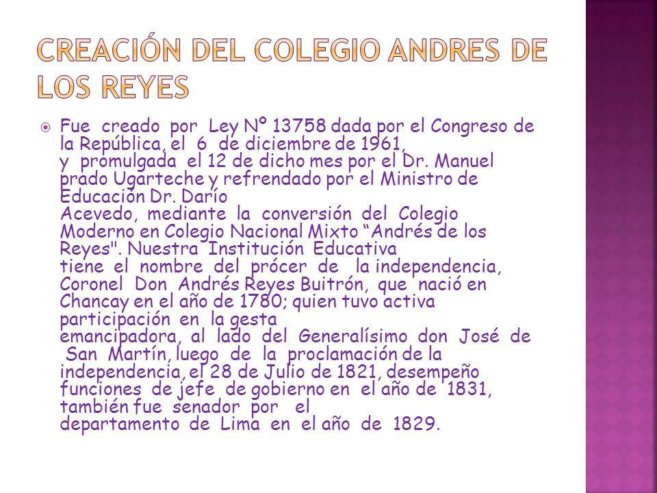 CREACIÓN DEL COLEGIO ANDRES DE LOS REYES