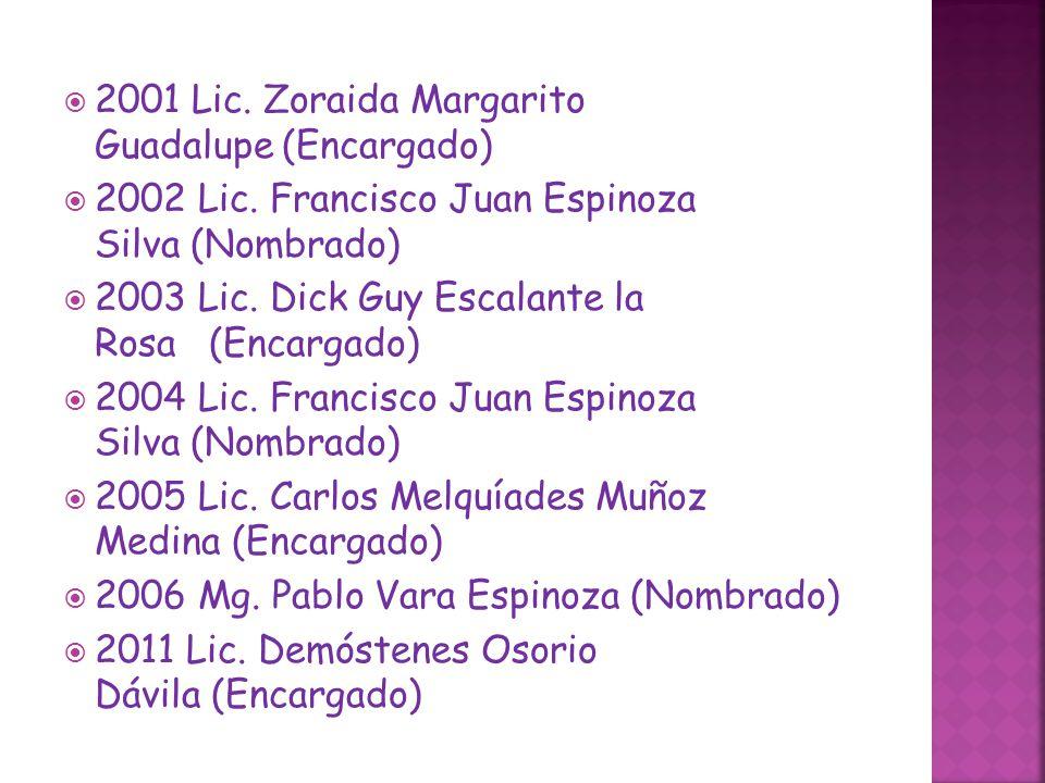 2001 Lic. Zoraida Margarito Guadalupe (Encargado)