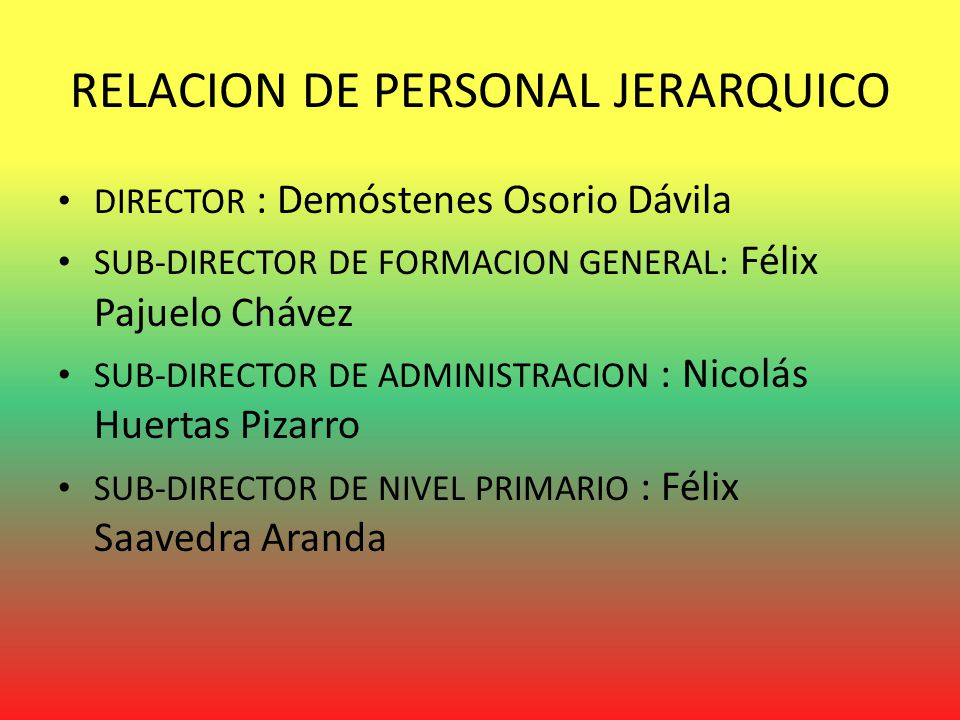 RELACION DE PERSONAL JERARQUICO