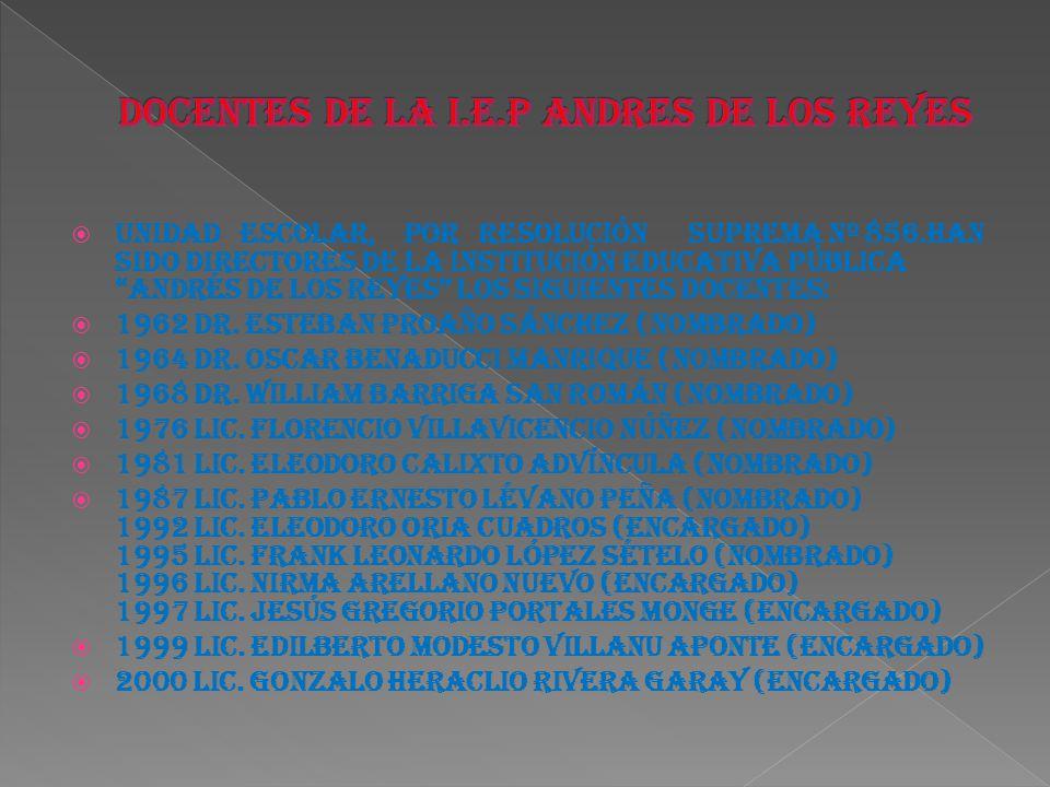 DOCENTES DE LA I.E.P ANDRES DE LOS REYES