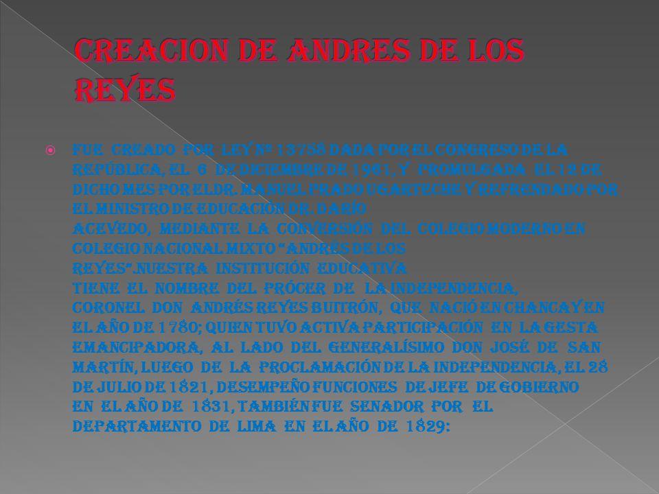 CREACION DE ANDRES DE LOS REYES