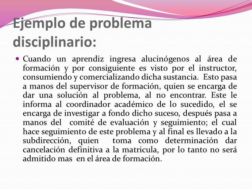 Ejemplo de problema disciplinario: