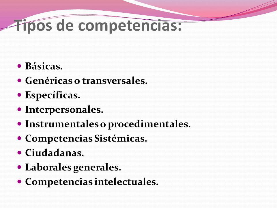 Tipos de competencias: