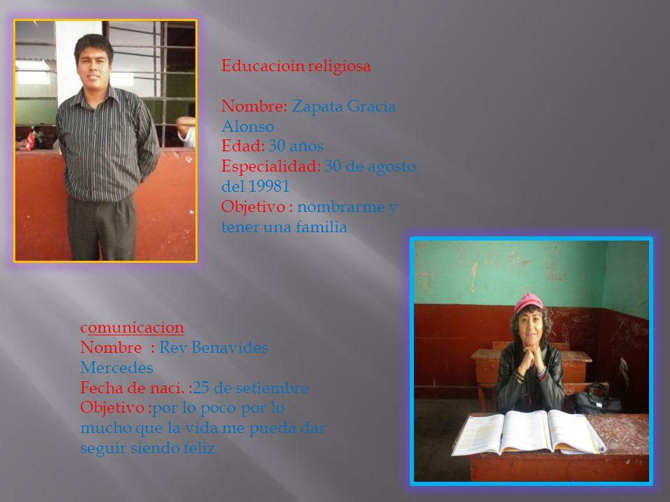 Educacioin religiosa Nombre: Zapata Gracia Alonso. Edad: 30 años. Especialidad: 30 de agosto del 19981.