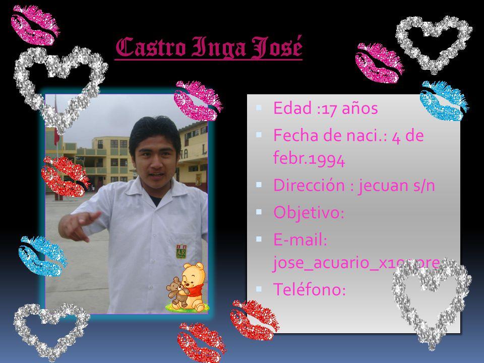 Castro Inga José Edad :17 años Fecha de naci.: 4 de febr.1994