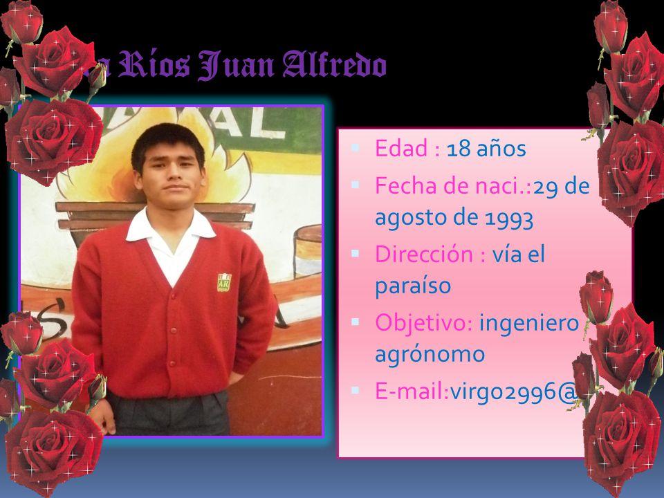 Jara Ríos Juan Alfredo Edad : 18 años