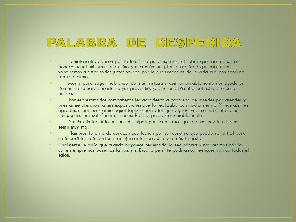 PALABRA DE DESPEDIDA