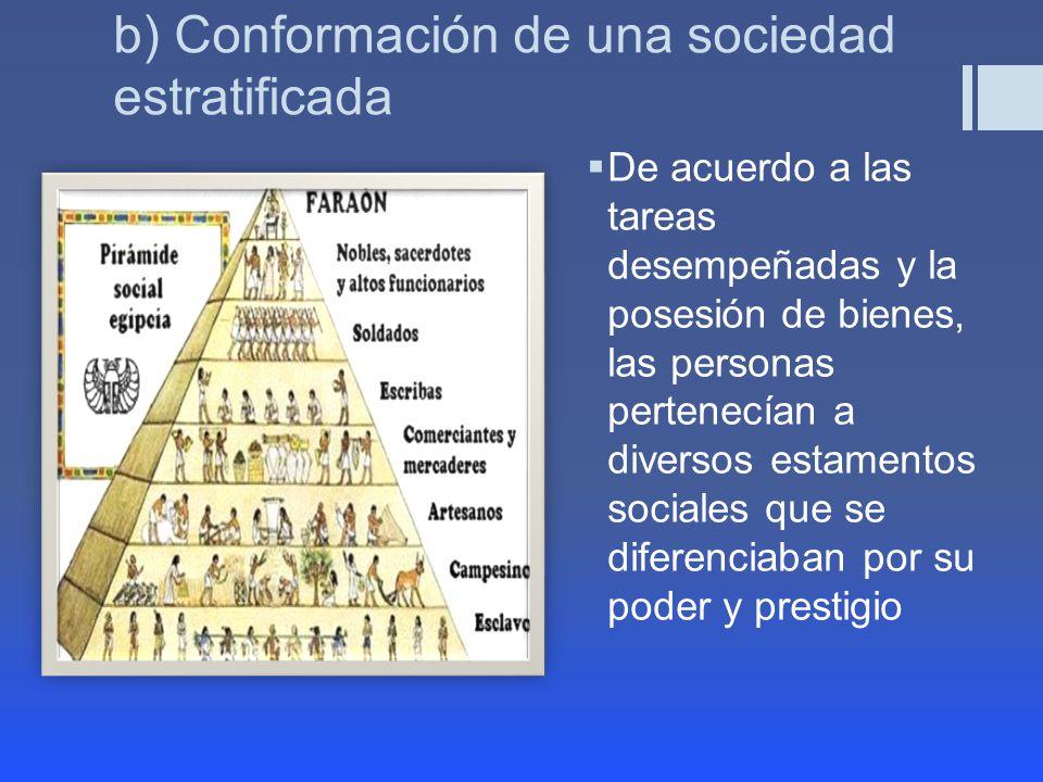 b) Conformación de una sociedad estratificada