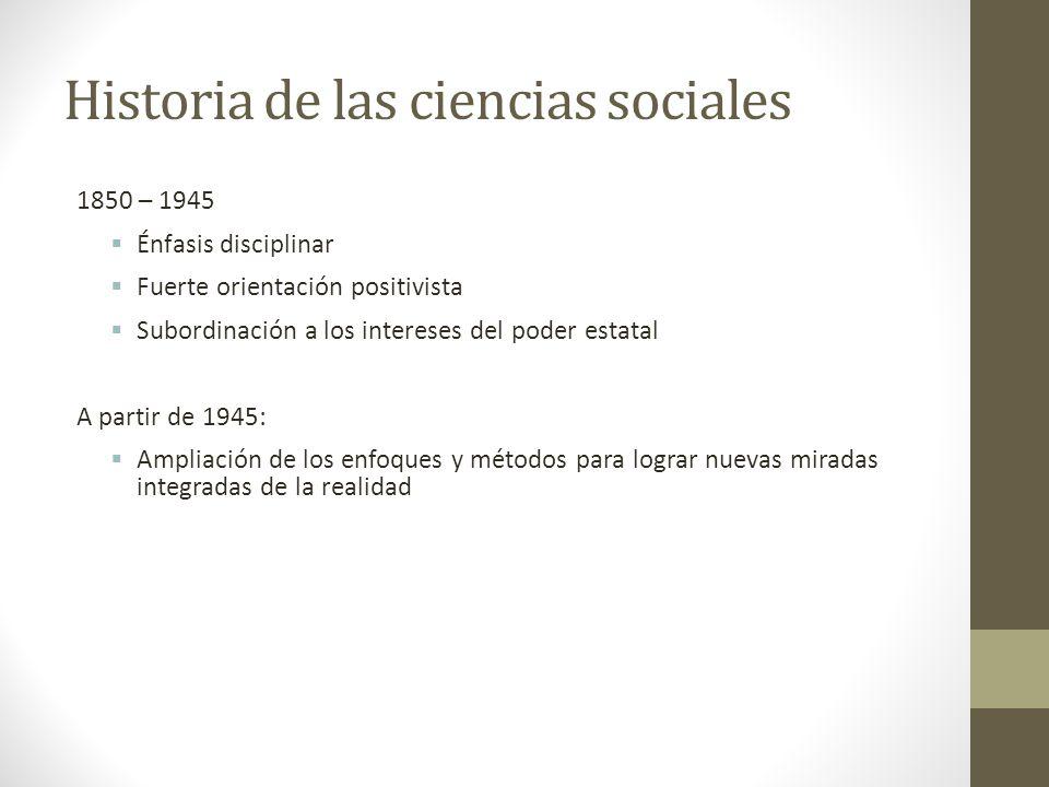 Historia de las ciencias sociales
